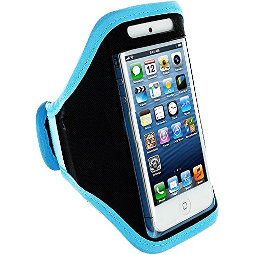 Mylife (Tm) Sky Blue + Black Velcro Strap (Light Weight Flexible Neoprene + Secure Running Armband) For Apple Iphone 5C, 5S And 5 (5G) 5Th Generation Itouch Phone (Universal One Size Fits All + Velcro Secured + Adjustable Length + Pu Leather Trim + All To