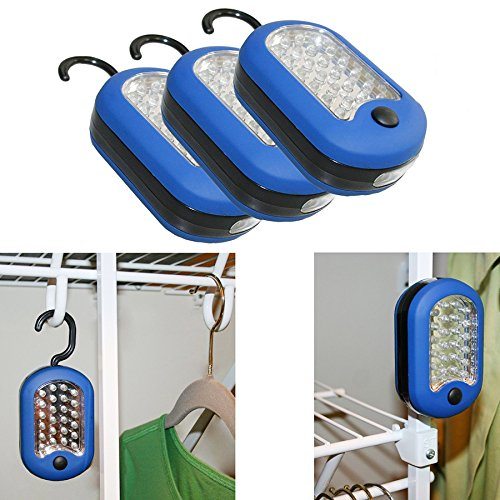 Evelots 3 LED Compact Work Lights, 24 LEDs-Magnetic & Hook 2-in-1 Design (Led Hanging Light compare prices)