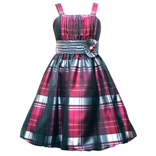 Size-6 RRE-48731H BURGUNDY SILVER BLACK TAFFETA PLAID BUBBLE SKIRT Special Occasion Flower Girl Holiday Pageant Party Dress,H348731 Rare Editions LITTLE GIRLS