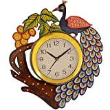 JaipurCrafts Beautiful Wooden Peacock Emboss Painting Wall Clock (Multicolor) (12 IN X 14 IN)