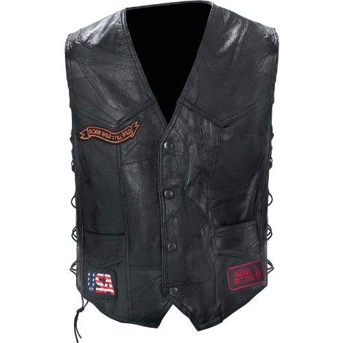 Incomparable Vests Standout Motorcycle Rock Leather Bike Vest-4X Exclusive