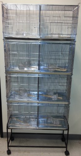 COMBO And One Stand Black LARGE Stack and Lock Double Breeder Cage Bird Breeding Cage With Removable Divider And Breeder Doors 4 Of 30 x 11 x 15H Cages *Galvanized* Large