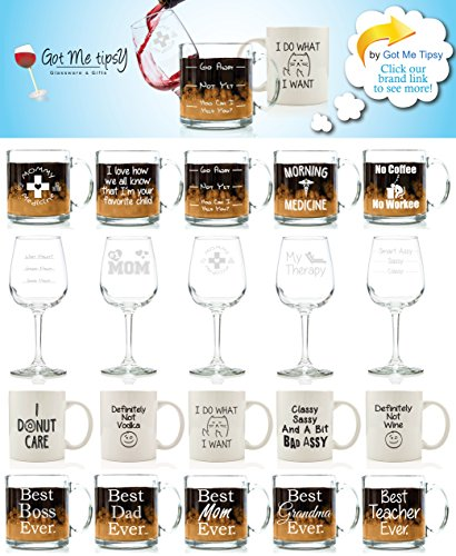 Mommy Medicine Funny Glass Coffee Mug 13 oz - Best Christmas Gifts for Mom - Unique Birthday Gift For Women - Humorous Present Idea For Her, New Mother, Wife, Girlfriend, From Son or Daughter