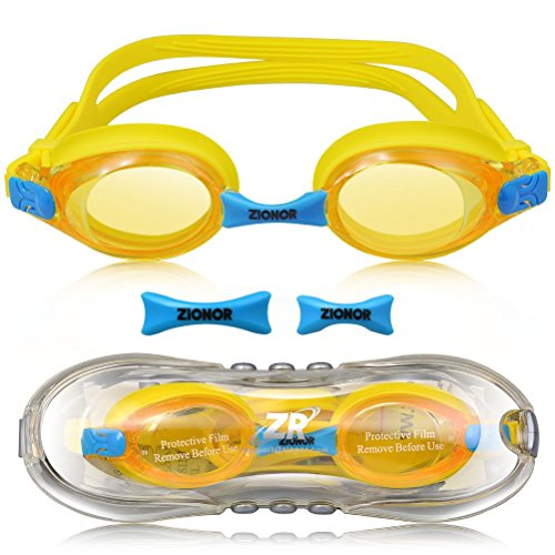 Schwimmbrille für Kinder, ZIONOR K1 Taucherbrille Anti-Nebel Linse mit Austauschbare Nasensteg UV-Schutz Wasserdicht komfortable verstellbare Silikon-Bügel für Jugend Kinder Jungen Mädchen