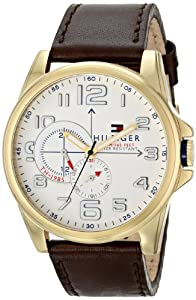Tommy Hilfiger 1791003 White Gold Analog Date Dial Brown Leather Men Watch NEW