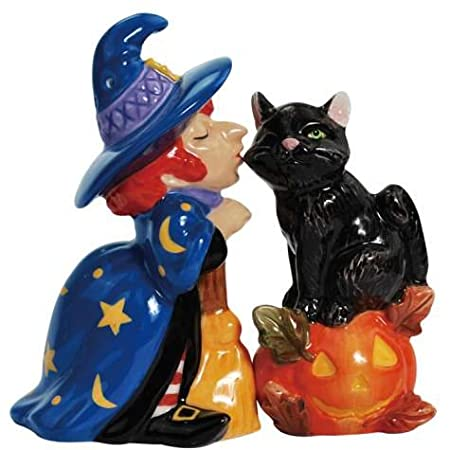 Witch Kissing Cat Salt and Pepper Shakers