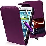 Supergets® Samsung Galaxy S3 mini I8190 Purple Top Flip PU Leather Case Covers and Mini Stylus