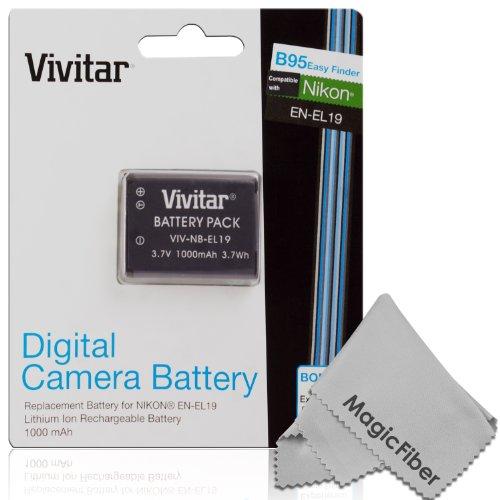 Vivitar En-El19 Ultra High Capacity 1000Mah Li-Ion Battery For Nikon Coolpix S100, S32, S3100, S3200, S3300, S3400, S3500, S3600, S2500, S2600, S2700, S2750, S4100, S4150, S4300, S4200, S4400, S6800, S6600, S6500, S6400, S5200 S5300 (Nikon En-El19 Replace
