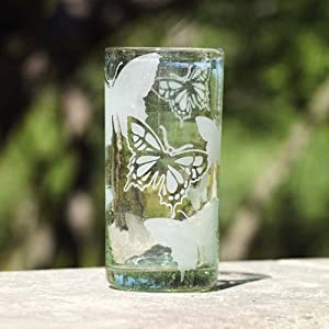 Monarch Butterfly Recycled Glass Drinking Glasses (4 pack)