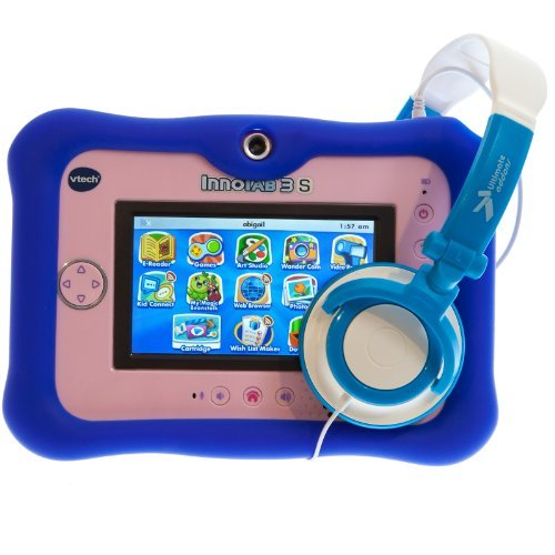 Ultimate Addons Thick Silicone Gel Skin Case With Headphones For Vtech Innotab 3S (Blue)