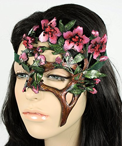 Handcrafted Leather Cherry Blossom Mask