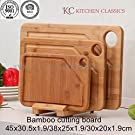 Best Quality Professional Extra Large Organic Bamboo Cutting Board Set of 3 with Stand and Deep Juice Groove KC Kitchen Classics