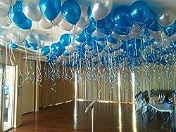 GrandShop 50411 FROZEN Theme Balloon Metallic HD - Blue & Silver (Pack of 50)