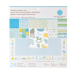Martha Stewart Crafts Designer Paper Pad 12'' X 12'' Baby Boy By The Package