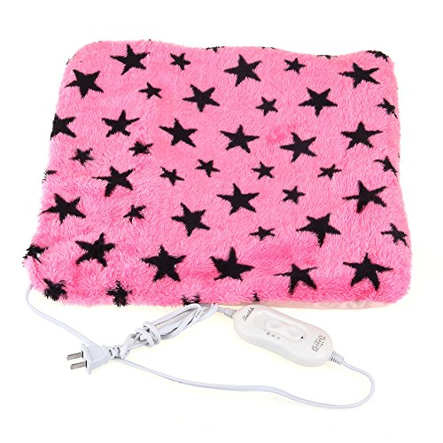 Pet Dog Cat Electric Heating Heater Mat Pad Bed Blanket Stars Pattern Fuchsia