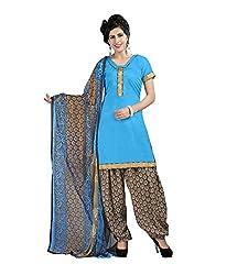 Ethnic Chic sky blue colored cotton suit.