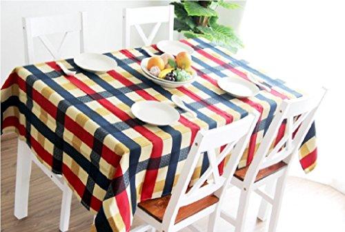 地中海 風 チェック 柄 テーブル クロス 180 × 140 ㎝ 布 タイプ (180×140㎝)