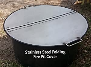 """40"""" Dia Heavy Duty Folding Stainless Steel Fire Pit Ring Cover."""