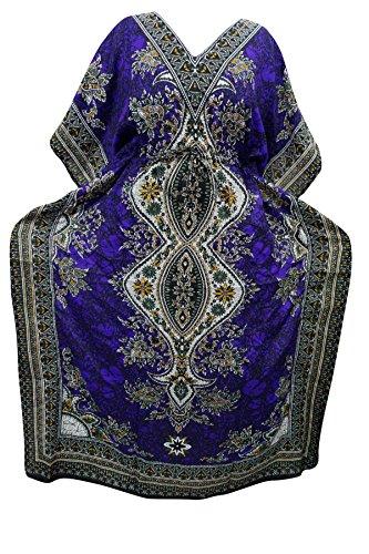 Indiatrendzs Women's Long Dashiki Boho Purple Kaftan Dress With Dori At Waist  available at amazon for Rs.385