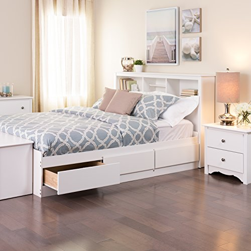 White Queen Mate's Platform Storage Bed with 6 Drawers (White Queen Bed With Storage compare prices)