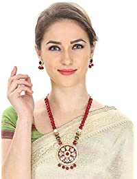 Aradhya White Kundan Necklace Red Onyx Stones Set With Earrings For Women And Girls