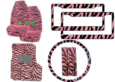 11-Piece Animal Print Automotive Interior Gift Set - 2 Universal-Fit Zebra Pink and Black Front Bucket Seat Covers, 2 Zebra Pink and Black Plastic License Plate Frame, 1 Zebra Pink and Black Steering Wheel Cover, 2 Zebra Pink and Black Shoulder Belt Pads and 4 Universal-Fit Zebra Pink and Black Carpet Floor Mats for Cars / Truck