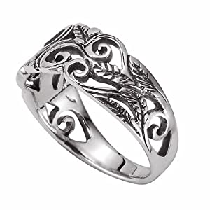 925 Sterling Silver Plated Retro Celtic Knot Hollow Long Vintage Pattern Adjustable Band Ring,Size 5-9