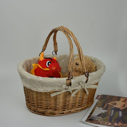 Rurality Vintage Wicker Picnic Basket with Double Folding Handles 3
