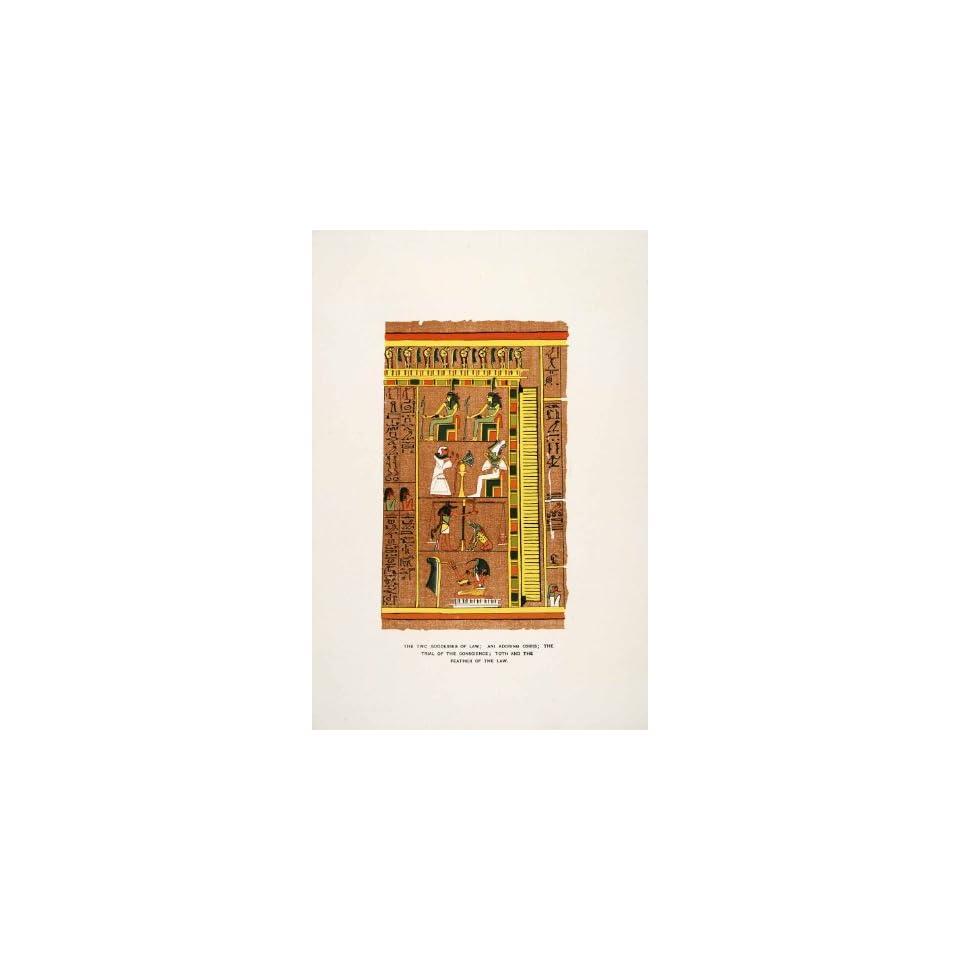1903 Chromolithograph Thoth Feather Scale Osiris Ani Maat