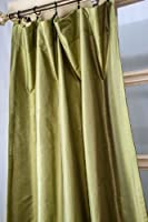 Green faux silk dupion curtain