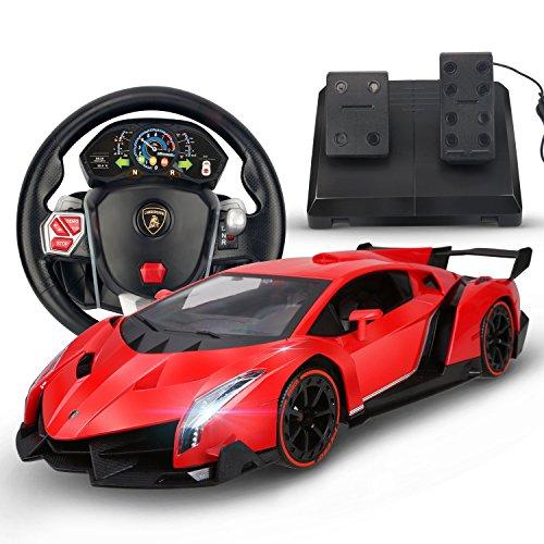 Holy Stone RC Car Lamborghini Veneno 1/14 Scale, Realistic Driving Experience,Gravity Sensor Radio Control Vehicle Diecast Model Color Red (Rc Die Cast compare prices)