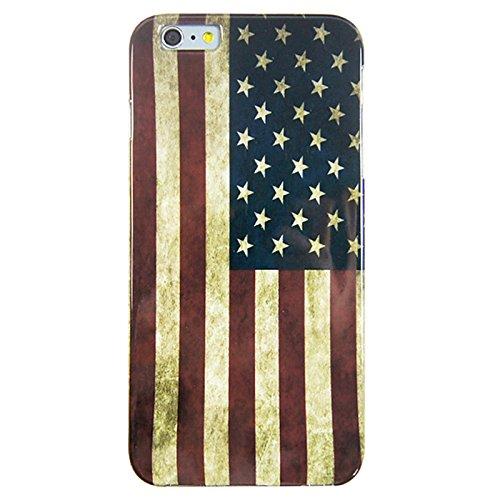 [A4E] Handyhülle passend für Apple iPhone 6 (6;6S) aus TPU Silikon mit retro Amerika US USA Stars and Stripes Muster Flagge Fahne Design vintage used look (rot, blau, weiß)