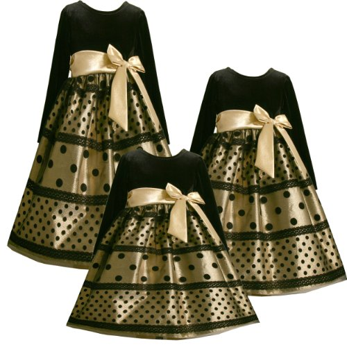size 6 bnj 5004x metallic gold black flock lace dot mesh overlay special occasion wedding flower girl holiday party dressx35004 bonnie jean little girls