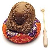 木魚 本桑製(一式) 3寸(横巾9cm)◆音のよい最高級品の木魚、ふとん・籐柄バイ付き、仏壇用の仏具