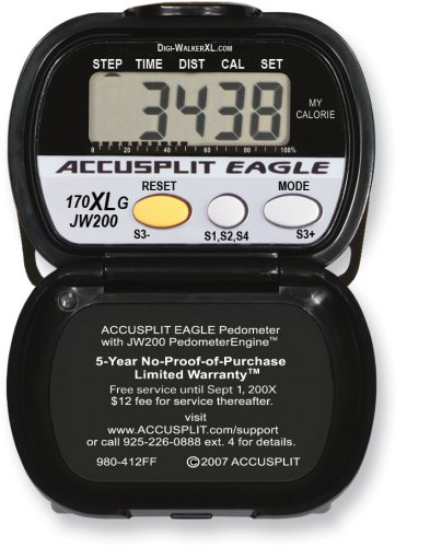 J4PR1I ACCUSPLIT AE170XLG Pedometer with Steps, Distance, Goal Setting, and Calories Burned