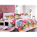 Orifashion 4 Pieces 100 Cotton Bedding Set With Bright Tropical Floral Printing