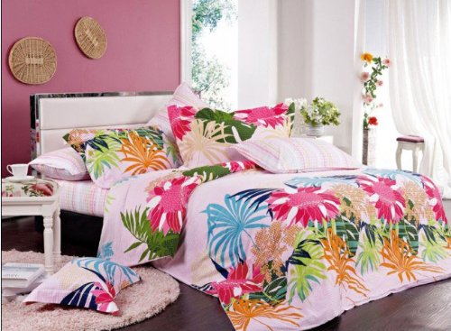 Orifashion 4 Pieces 100% Cotton Bedding Set With Bright tropical Floral Printing