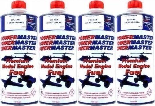 POWER MASTER ~ FOUR Quarts of 20% Nitro Fuel ~ Premium Model Engine Fuel