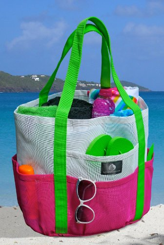 Saltwater Canvas Whale Beach Bag - Caribbean White, Hot Pink, and Apple Green