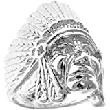 Men's .925 Sterling Silver Indian Chief Head, Chopper Biker Motorcycle Ring Size 7