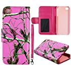 Pink Camo Pine Leather Wallet Flip ID Pouch Apple Iphone 5, 5S at&t. Verizon, Sprint, C Spire Case Cover Hard Phone Case Snap-on Cover Protector Rubberized Touch Faceplates