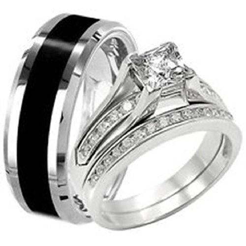 Amantran Gems And Jewels 1Ct Round Cut Unique Beautiful 925 Sterling Silver Stylish Wedding-Engagement Ring-Couple Ring For Women (RI0092) (multicolor)