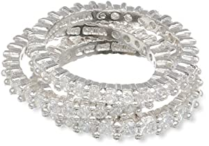 Sterling Silver Simulated Diamond Stacking Eternity Band, Size 7