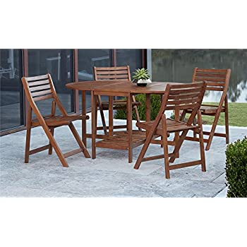 COSCO Outdoor Living Acacia Wood Folding Patio Dining Chairs, 4-Pack