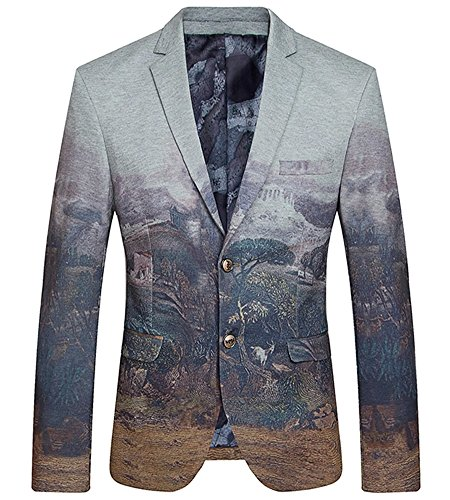 LATUD Men's Premium Quality Vintage Print Separate Tux Jacket Blazer Suit Grey