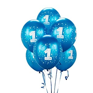 Cyan #1 Balloons (6) by Birthday Express