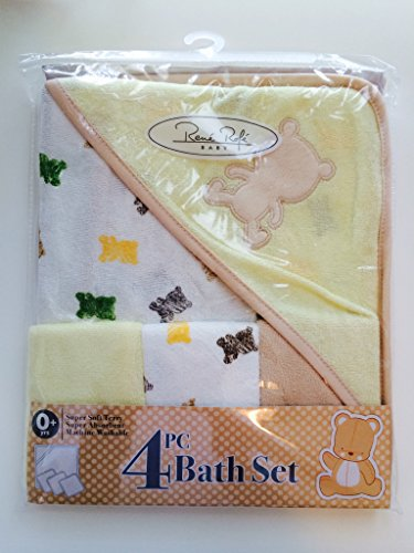 Rene Rofe Baby Bon Bebe 4 Pc Bath Set Bath Super Soft Terry Blanket & 3 Washcloths (Yellow/White)