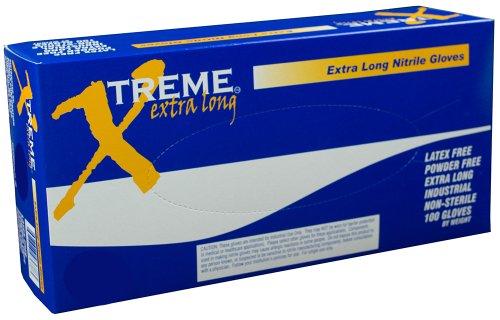 Ammex XNPFL Xtreme Extra Long Blue Nitrile Glove, Medical Exam, Latex Free, Disposable, Powder Free, Large (Case of 1000)