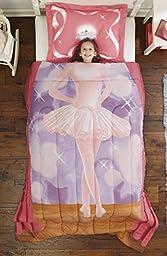 Dream Big Ballerina Ultra Soft Microfiber 2-Piece Comforter Sham Set, Pink, Twin