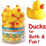24 Cute Rubber Ducks in a tub